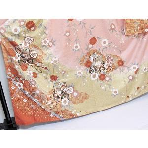 さらに値下げしました20% 振袖 正絹 紋綸子 鴇色(ときいろ) 御所車 167cm前後の方 美品 お薦めです|kimono-maruichi|02