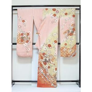 さらに値下げしました20% 振袖 正絹 紋綸子 鴇色(ときいろ) 御所車 167cm前後の方 美品 お薦めです|kimono-maruichi|04