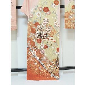 さらに値下げしました20% 振袖 正絹 紋綸子 鴇色(ときいろ) 御所車 167cm前後の方 美品 お薦めです|kimono-maruichi|05