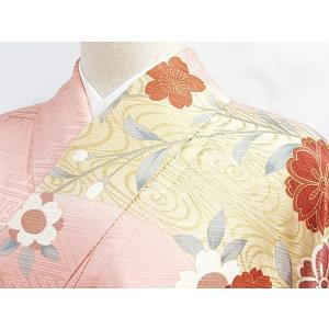 さらに値下げしました20% 振袖 正絹 紋綸子 鴇色(ときいろ) 御所車 167cm前後の方 美品 お薦めです|kimono-maruichi|06