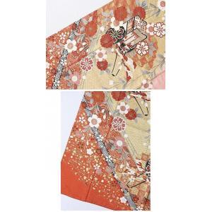 さらに値下げしました20% 振袖 正絹 紋綸子 鴇色(ときいろ) 御所車 167cm前後の方 美品 お薦めです|kimono-maruichi|09