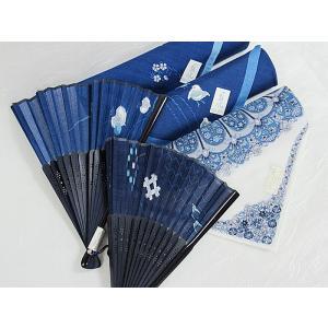 【展示品 アウトレット】藍風ハンカチ2枚(綿) 藍風扇子2本/ペシャワール更紗1枚(綿)☆5点セット|kimono-maruichi