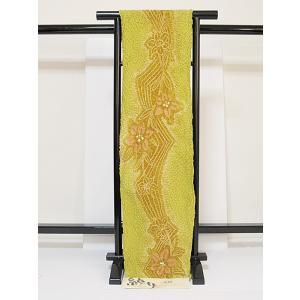 ●さらに!値引きしました30%OFF国産【有松絞り 浴衣】湯のし(巾だし)色止め☆カラシ/花柄|kimono-maruichi