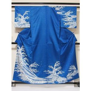 洗えるキモノ【附下げ】単衣仕立て なると波/ブルー☆157cm前後ベスト/踊り 舞台 イベント|kimono-maruichi