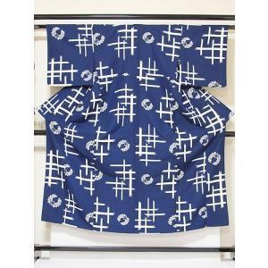 洗えるキモノ【単衣 小紋】井桁に上がり藤/紺☆148cm前後ベスト【美品】洗い加工済み|kimono-maruichi