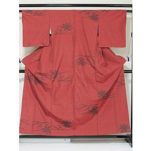 ●さらに!値引きしました40%OFF【正絹 紬】露芝に紅葉/ストロングレッド/158cm前後の方【美品】お薦めです|kimono-maruichi