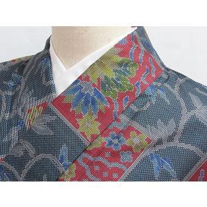 ●さらに!値引きしました30%OFF【正絹 大島紬】一元 絣 角取り 菊唐草文/泥 グレイッシュブルー/163cm前後の方【美品】お薦めです|kimono-maruichi