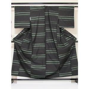 ●さらに!値下げしました20%OFF【未使用 仕付けアリ】【正絹大島紬】横双/泥 霞 緑/157cm前後の方【美品】|kimono-maruichi