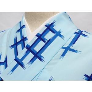 洗えるキモノ【単衣 小紋】井桁重ね柄/水色☆146cm前後ベスト【美品】|kimono-maruichi