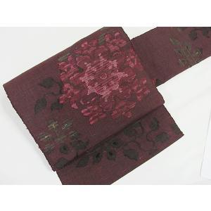 ●さらに!値引きしました30%OFF織/八寸名古屋帯/唐花★ワイン茶【美品】 kimono-maruichi