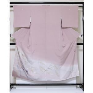 特選【色留袖 未使用】染色作家「草野一騎」一越 3つ紋 落款/柳に鶴 グレイッシュピンク 暈し☆148cm前後の方ベスト【優品】お薦めです|kimono-maruichi