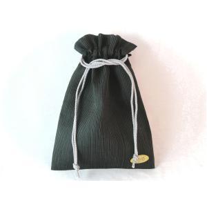 能登上布巾着 麻 クール 軽い巾着 黒 細い縞|kimono-morizen