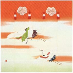 加賀友禅 花嫁のれん 二羽鶴 本染め 花嫁のれん号、花嫁のれん館、TVドラマでも放映|kimono-morizen