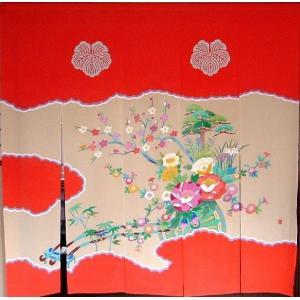 加賀友禅 花嫁のれん 花車2 本染め 花嫁のれん号、花嫁のれん館、TVドラマでも放映 婚礼家具 婚礼道具|kimono-morizen
