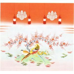 加賀友禅 花嫁のれん 金鶏鳥 手描き 花嫁のれん号、花嫁のれん館、TVドラマでも放映 婚礼家具 婚礼道具|kimono-morizen