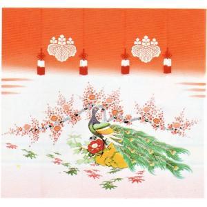 加賀友禅 花嫁のれん 孔雀 手描き 花嫁のれん号、花嫁のれん館、TVドラマでも放映 婚礼家具 婚礼道具|kimono-morizen