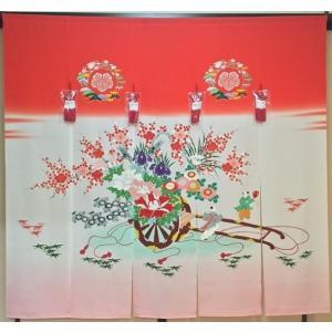 加賀友禅 花嫁のれん 花車 手描き 花嫁のれん号、花嫁のれん館、TVドラマでも放映 婚礼家具 婚礼道具 |kimono-morizen