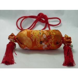 俵型 祭りお守り 手作り お札入り 肩掛け たすき掛け 金襴|kimono-morizen