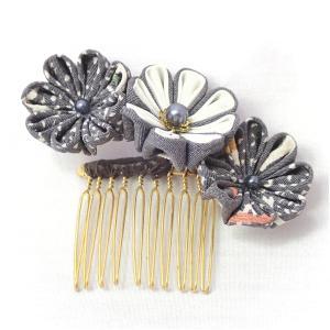 つまみ細工髪飾り3Pセット かんざし 振袖 七五三 日本製 ちりめん細工 白 ブルー系|kimono-morizen