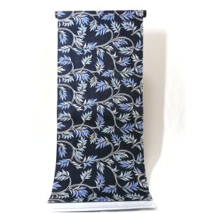 ゆかた 濃紺色 つる葉柄 龍村美術きもの  綿麻生地 |kimono-morizen