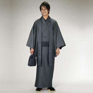 メンズ着物レンタル8点フルセット・黒002 M/Lサイズ 黒足袋プレゼント 着物レンタル 男性貸衣装...