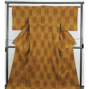 紬 正絹 格子幾何模様 紬 美品  リサイクル  着物|kimono-syoukaku