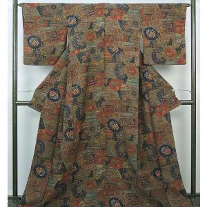 小紋 正絹 四季花鼓模様 小紋 美品  リサイクル  着物|kimono-syoukaku