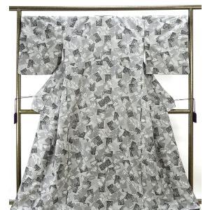 紬  正絹 百人一首模様 お召し ゆったり 良品  リサイクル  着物 kimono-syoukaku