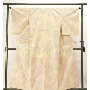 紬 正絹 花模様 紬 リサイクル 着物 kimono-syoukaku