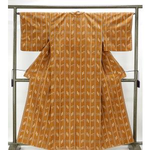 紬 未着用美品 正絹 縦縞燕絣模様 紬 未使用 新古品 着物 kimono-syoukaku