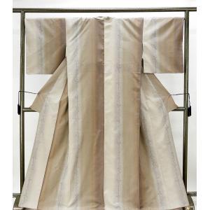 紬 正絹 はたおり娘 草葉模様 結城紬 良品 リサイクル 着物 kimono-syoukaku
