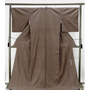 紬 未着用超美品 正絹 草木染 幾何模様 結城紬 未使用 新古品 着物 kimono-syoukaku