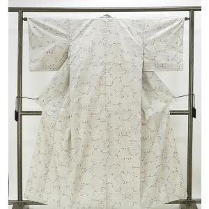 紬 正絹 雪輪絣模様 紬 リサイクル 着物 kimono-syoukaku