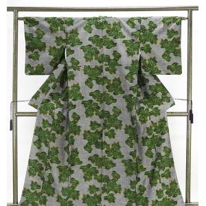 紬 正絹 草葉模様 紬 リサイクル 着物 kimono-syoukaku