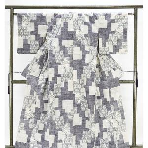 紬 正絹 亀甲麻の葉模様 紬 リサイクル 着物 kimono-syoukaku