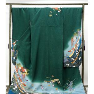 振袖 未着用超美品 正絹 文箱熨斗目四季花模様 振袖 未使用 新古品 着物
