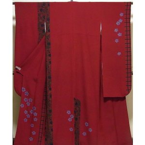振袖 正絹 縮緬撫子菊模様 振袖 美品  リサイクル|kimono-syoukaku