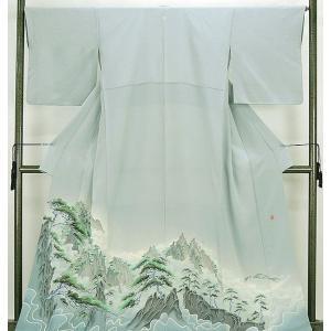 色留袖 正絹 加賀友禅魚津誠作 黄山  色留袖美品一つ紋 リサイクル|kimono-syoukaku