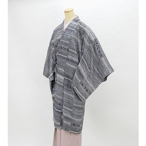 単衣  道中着 新品仕立済 正絹 単衣 唐花横縞模様 道中着 薄物コート 新品  仕立て上がり|kimono-syoukaku