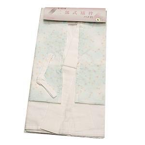日本製 洗える 二部式襦袢  水色のぼかし地に小花柄(衣紋抜き&胸紐&白半衿付き)|kimono-waku