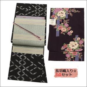 洗える着物セット 長羽織セット 袷  Mサイズ 17-2.黒地に変わり七宝柄の着物とアイボリー地に幾何学柄の帯と濃い紫地に華柄の長羽織 kimono-waku