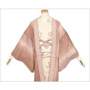 長羽織 夏用 東レシルック(紗) 17-1.赤藤系のぼかし地に吹き寄せ柄 ちりよけコートです。|kimono-waku