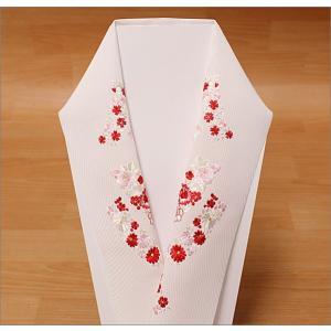 刺繍半衿  絹交織  T-16-23.白地 |kimono-waku