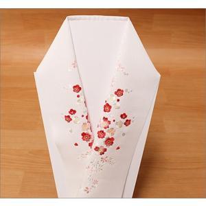 刺繍半衿  絹交織  T-16-25.白地 |kimono-waku