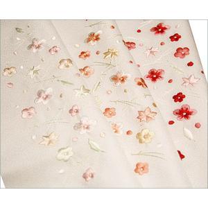 半襟 刺繍 半衿 白 着物 白色地に吹き寄せ柄 日本製 |kimono-waku