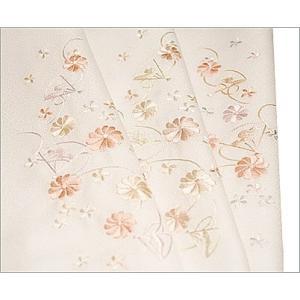 半襟 刺繍 半衿 白 洗える 着物 華と扇柄 日本製 |kimono-waku