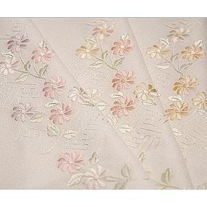 半襟 刺繍 半衿 白 着物 白色地紗綾形と花柄 日本製 |kimono-waku