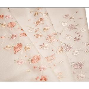半襟 刺繍 半衿 白 着物 白色地に華と露芝柄 日本製 |kimono-waku
