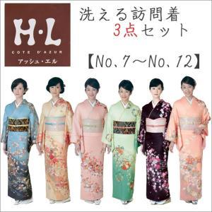 訪問着 洗える着物 3点セット No7〜No12 アッシュエル  お取り寄せ商品 訪問着と袋帯と長襦袢 kimono-waku