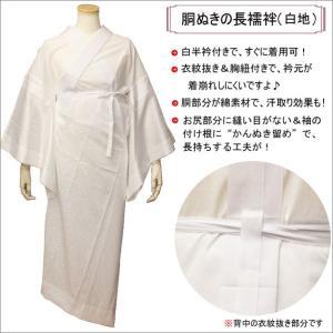 長襦袢 洗える S〜大きいサイズ 白 綸子 レディース 胴抜き 衣紋抜き 胸紐付き 日本製|kimono-waku
